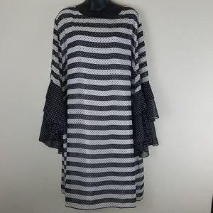 NWT Cato Polka Dot Stripe Bell Ruffle sleeve Dress